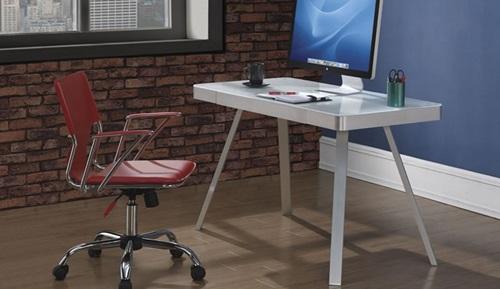 Lovo Bell'O metalowe biurko ze szklanym blatem białe