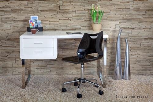 Biurko białe lakierowane na wysoki połysk Solano