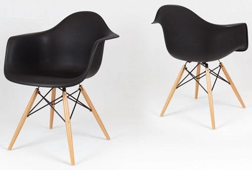 Mondi design krzesło czarne z drewnianymi nogami