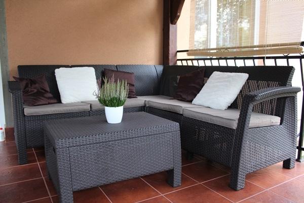 Narożnik ogrodowy Corfu Relax na balkonie pani Anety