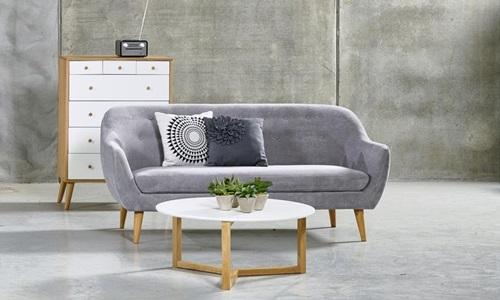 Actona Elly sofa na nóżkach skandynawska pikowana szara