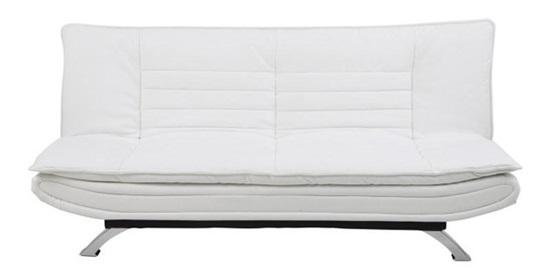 Actona Faith nowoczesna sofa na nóżkach rozkładana biała imitacja skóry
