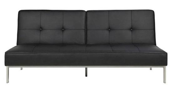 Actona Perugia elegancka sofa na nóżkach rozkładana czarna ekoskóra