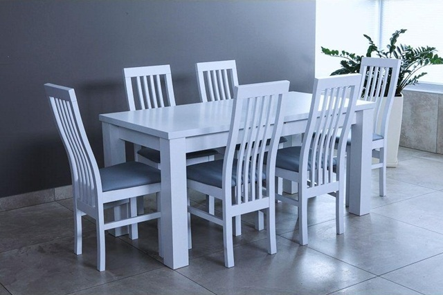 Biały stół z krzesłami do salonu rozkładany Amelia 160-K6 (P)
