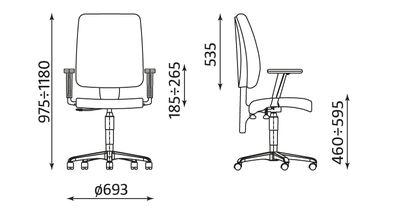 Krzesło obrotowe TAKTIK wymiary