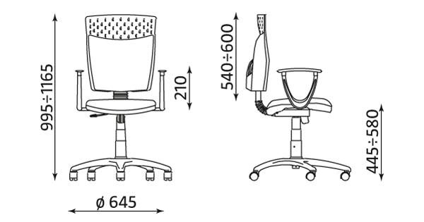 Krzesło ażurowe obrotowe Nowy Styl Stillo 10 gtp wymiary