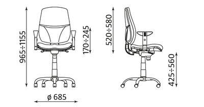 Krzesło obrotowe Inspire R10 steel02 chrome wymiary