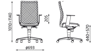 Krzesło obrotowe Intrata Operative O-13 wymiary