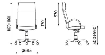Fotel gabinetowy Nadir Steel wymiary