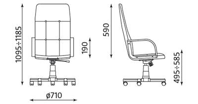 Fotel skórzany gabinetowy Zenit Steel wymiary