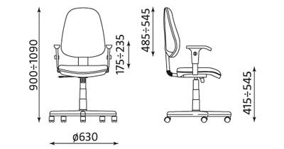 Krzesło obrotowe Comfort profil R wymiary