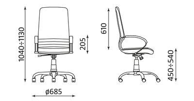 MIRAGE steel02 chrome fotel biurowy skóra kremowa wymiary