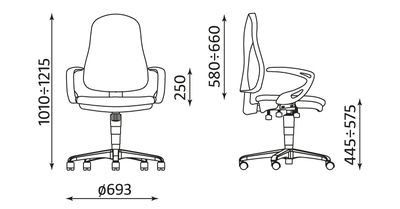 Krzesło biurowe Offix gtp41 ts16 wymiary