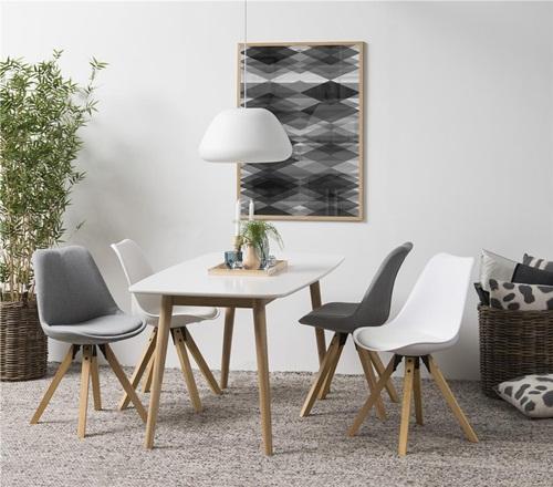 Actona stół i 4 krzesła skandynawski design Nadim Biały-Jasny Szary-Biały