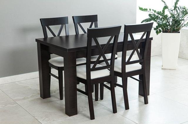 Stół kuchenny z krzesłami Amelia 120-K4 (X) Wenge składany