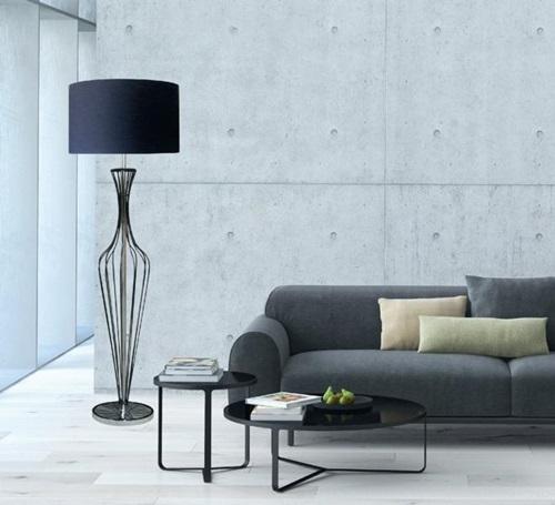 Elegancka lampa druciana podłogowa czarna Hugo Floor TS-120630F-BK