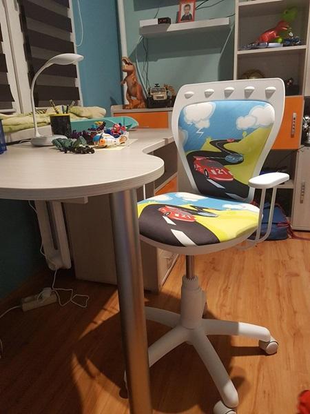 Krzesło Ministyle White Cartoons GTP TS22 Turbo biały fotel dziecięcy