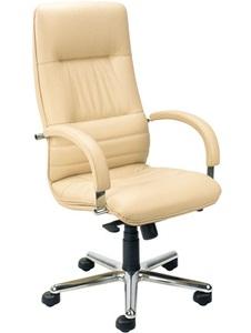 Skórzany fotel biurowy Linea steel chrome Multiblock beżowy