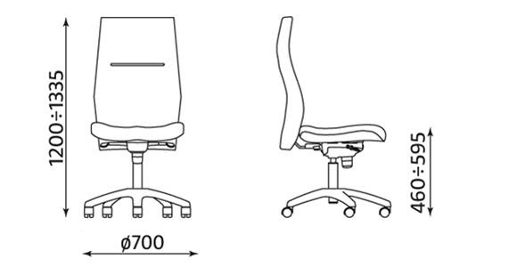 Krzesło obrotowe Orlando HB R16H steel28 chrome wymiary