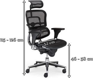 Nowoczesny fotel biurowy Enjoy Ergohuman - wymiary