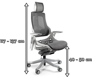 Ergonomiczny fotel gabinetowy regulowany Wau - wymiary