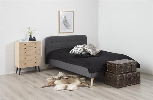 Actona Alma ciemnoszare łóżko tapicerowane z zagłówkiem 180x200cm
