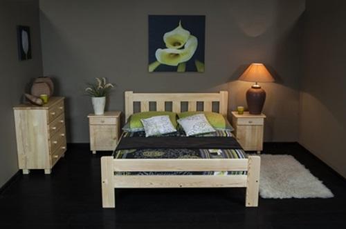 sosnowe łóżko Mati z szafkami nocnymi i komodą