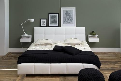 Actona Ashlan szafka nocna biała z tapicerowanym łóżkiem