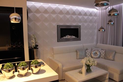 Salon w stylu glamour z dekoracją ścienną Loft Design System