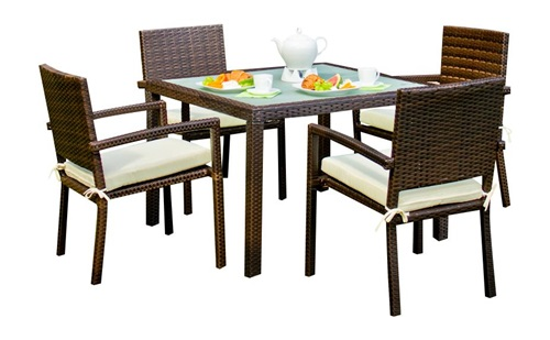 stolik kawowy technorattan z krzesłami
