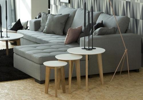 Actona Abin zestaw 3 stolików z drewnianymi nogami