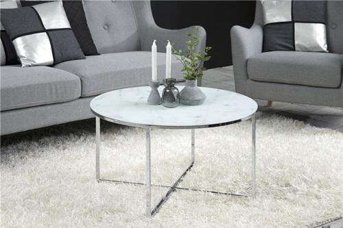 Actona Alisma stolik kawowy z marmurowym blatem - srebrny