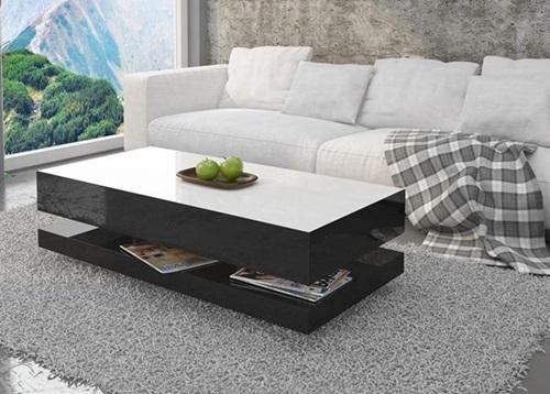 Nowoczesny stolik Tora biało-czarny