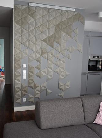 Dekory betonowe 3D SLABB na ścianie w kuchni