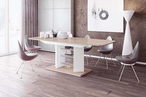 Linosa 3 designerski stół rozkładany wysoki połysk cappuccino