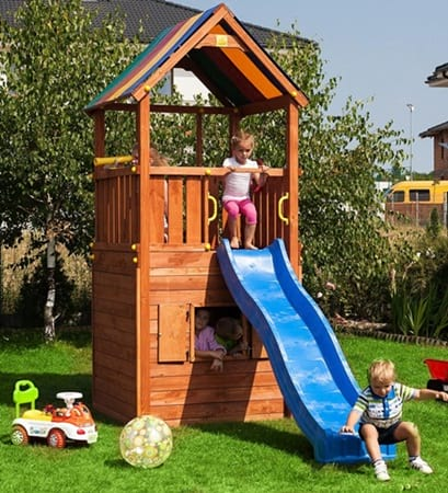 Drewniany domek ogrodowy dla dzieci ze zjeżdżalnią Sun Hide