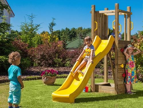 Plac zabaw z drewna do ogródka z piaskownicą Fungoo Funny 3