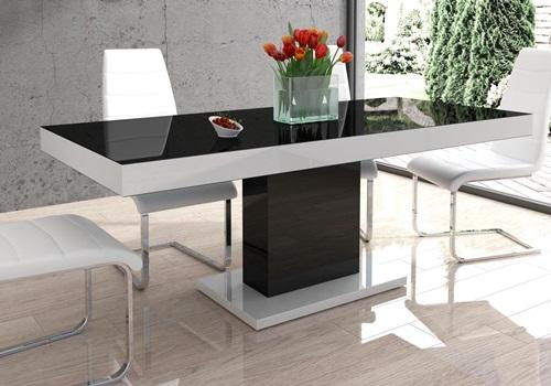 Stół do kuchni rozkładany wysoki połysk Marszel czarno-biały