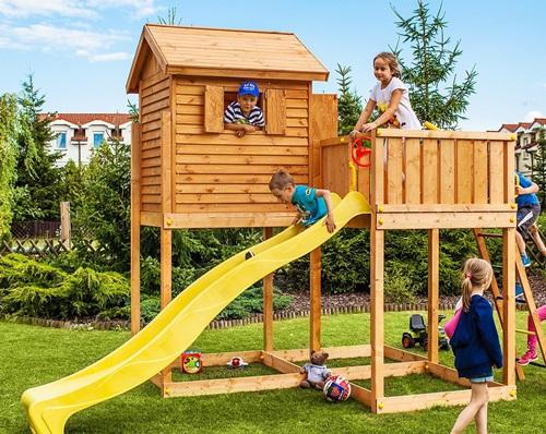 Plac zabaw z domkiem dla dzieci do ogrodu Fungoo MySide