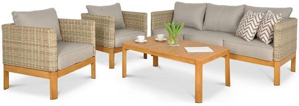 meble ogrodowe Milla Cafe z drewnianymi elementami