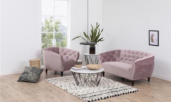 sofa Ria i fotel i kolorze brudnego różu