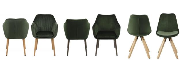 Krzesła welurowe ciemnozielone