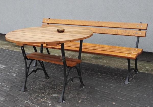 okrągły stół drewniany do ogrodu