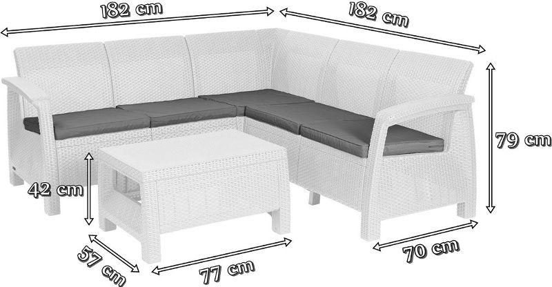 Wymiary nowoczesnego zestawu ogrodowego Corfu Relax Set