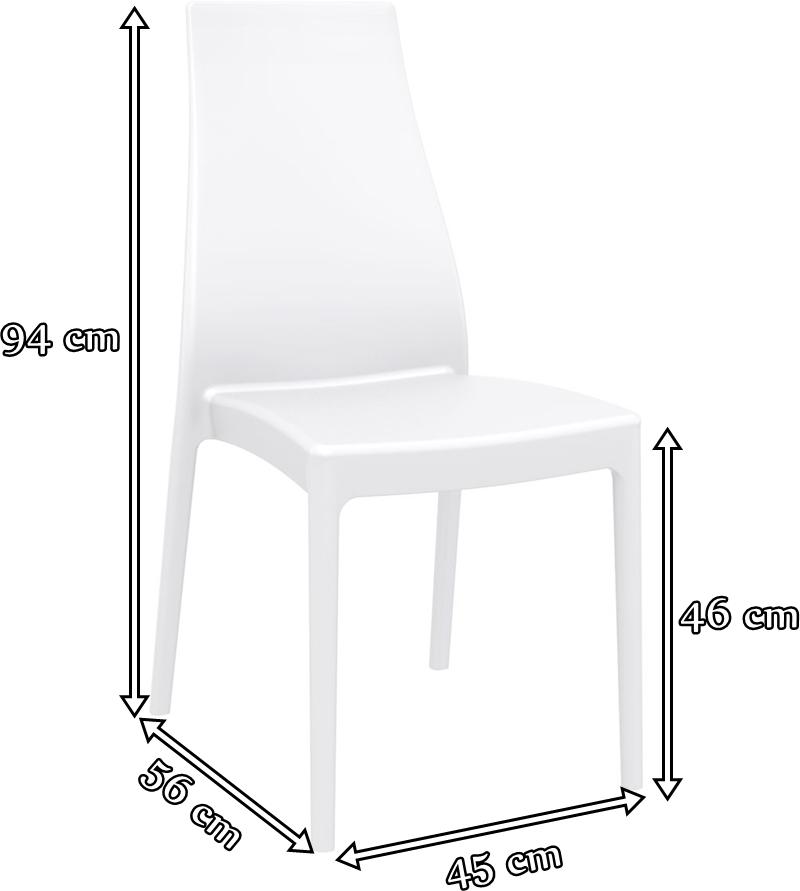 Soho Black krzesło bankietowe proste - wymiary