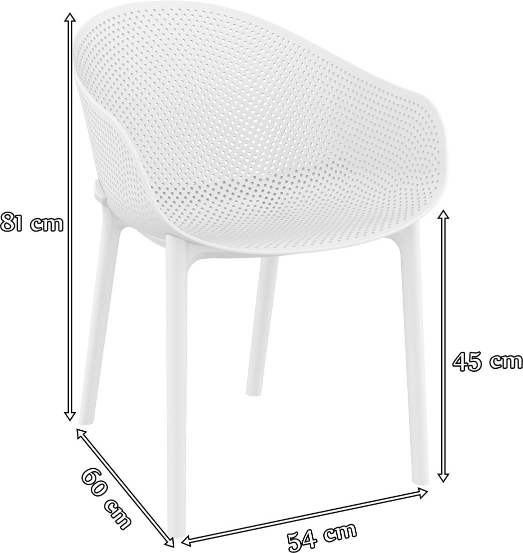 Ażurowe krzesło z podłokietnikami Sky White - wymiary